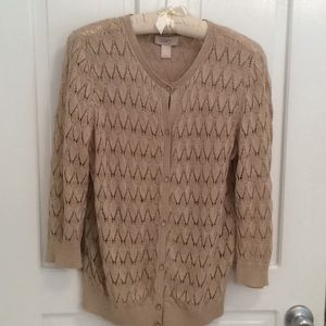 Ann Taylor Loft Gold Sparkly Cardigan Sweater